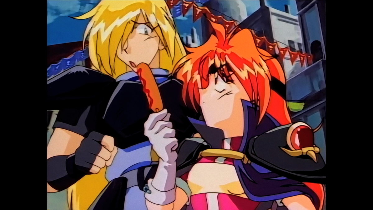 Lovable moron Gourry gets filled in on the plot by the knowledgeable Lina.