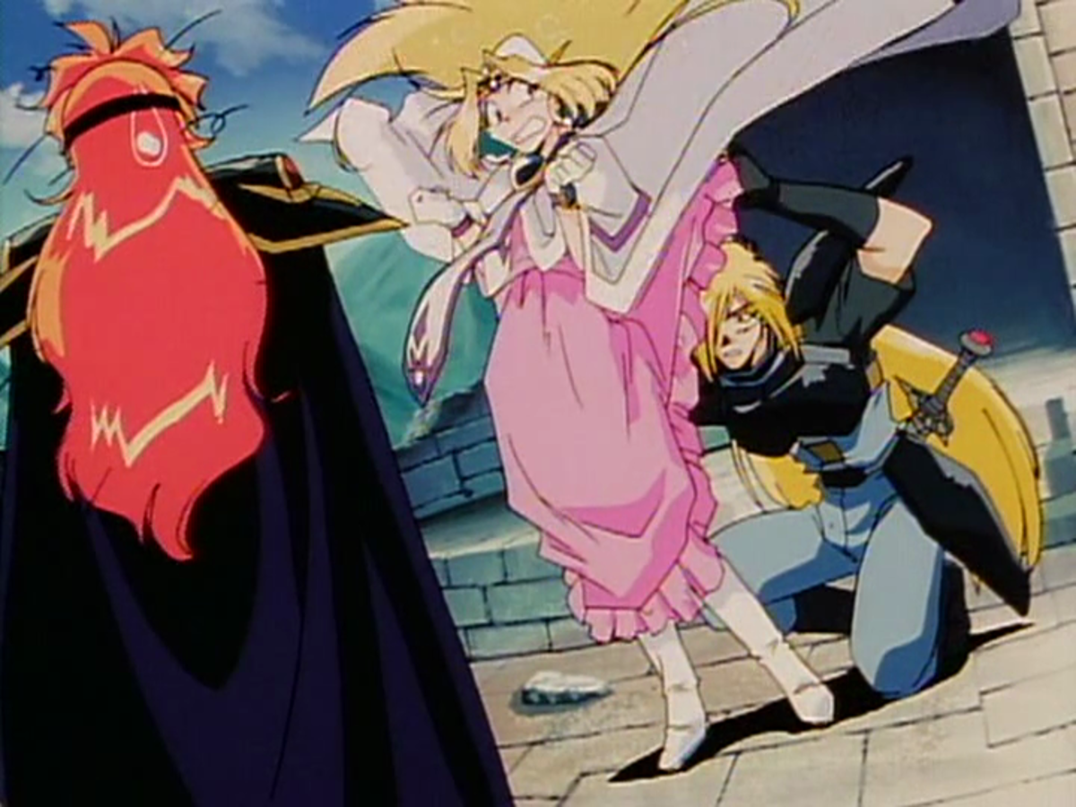 ...whom Gourry immediately and directly inspects for the cause of her strangeness.