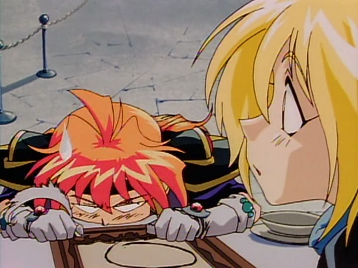 Lina must once again endure Gourry's stunning inability to retain important exposition.