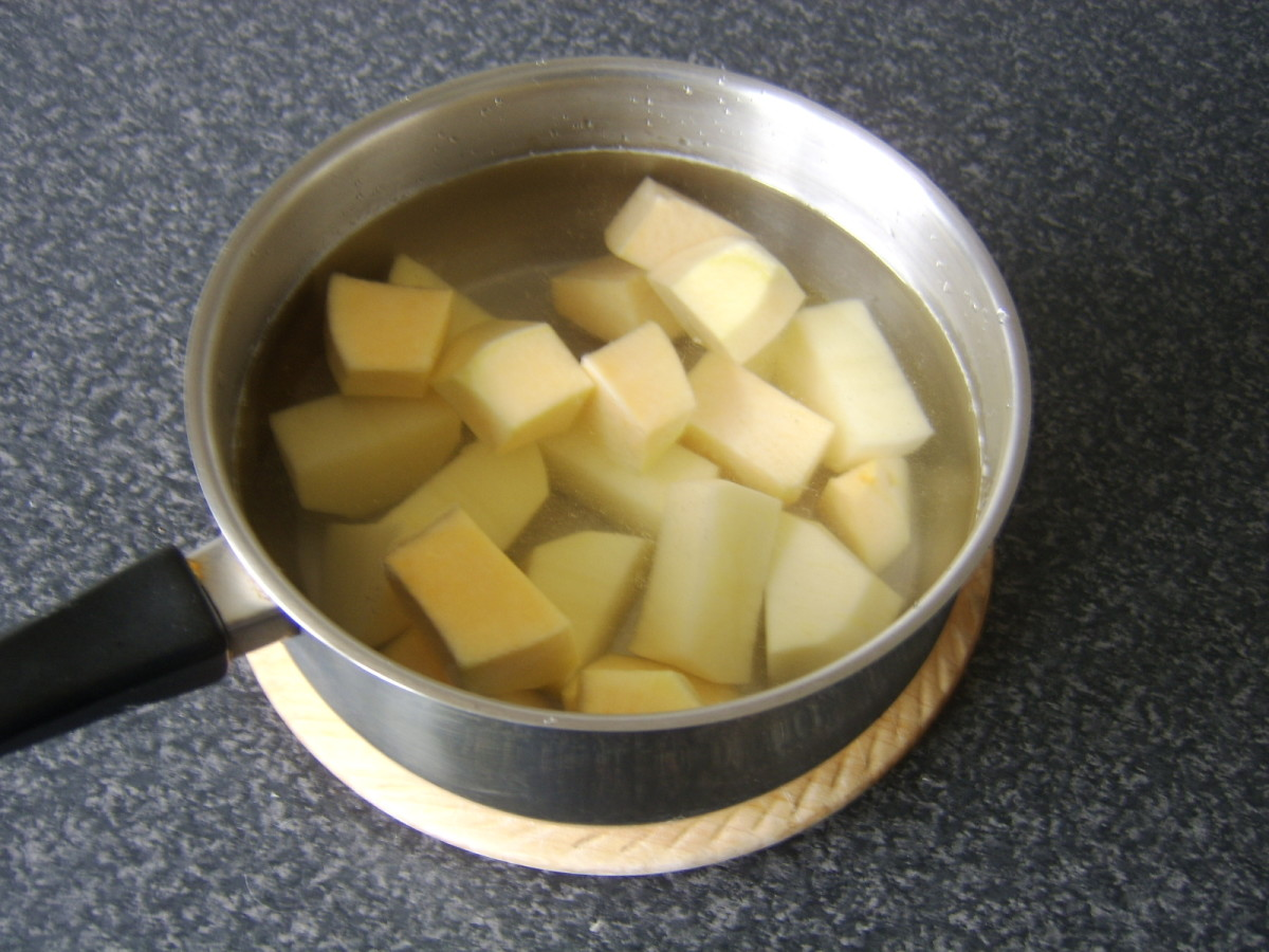 Chopped potato and Swede ready to be boiled
