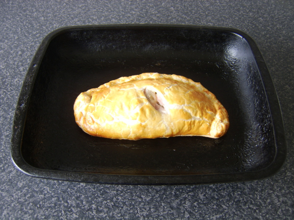 Balmoral Chicken pasty is removed from oven