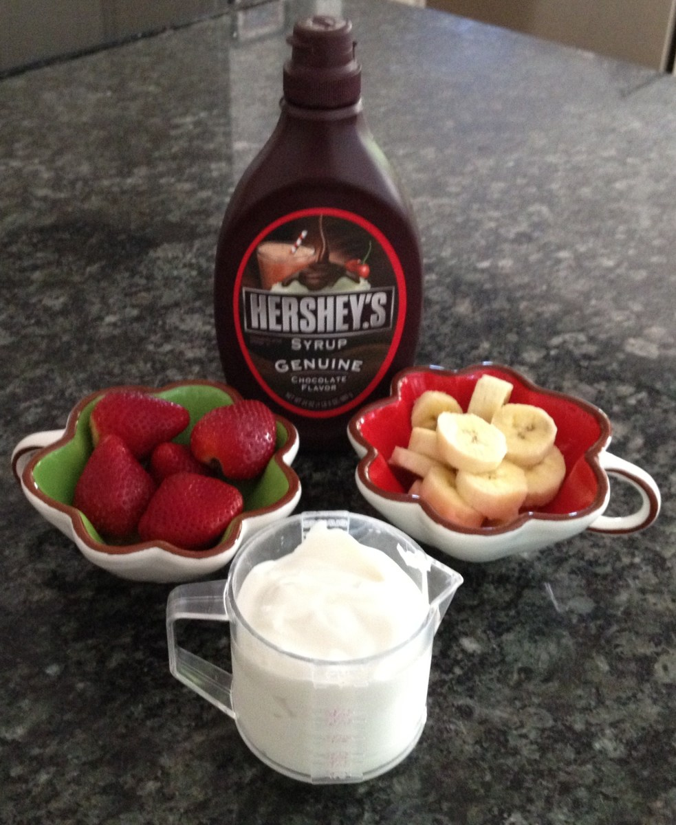 Strawberries, chocolate syrup, bananas and greek yogurt.  Don't forget the peanut butter.
