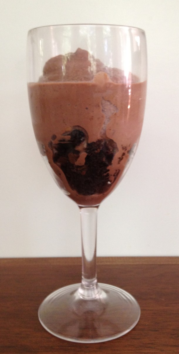 2. Pour milkshake on top of brownie crumbles.
