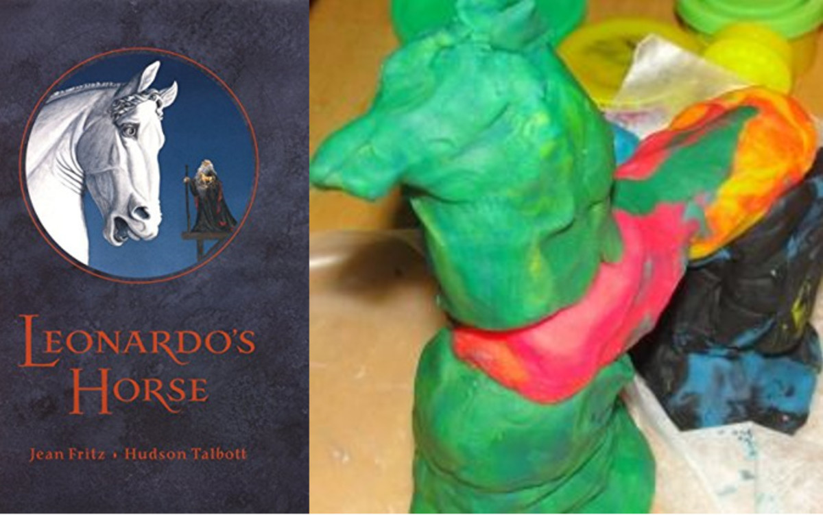"""Leonardo's Horse"" by Jean Fritz & a horse sculpture created by a 5 year old"