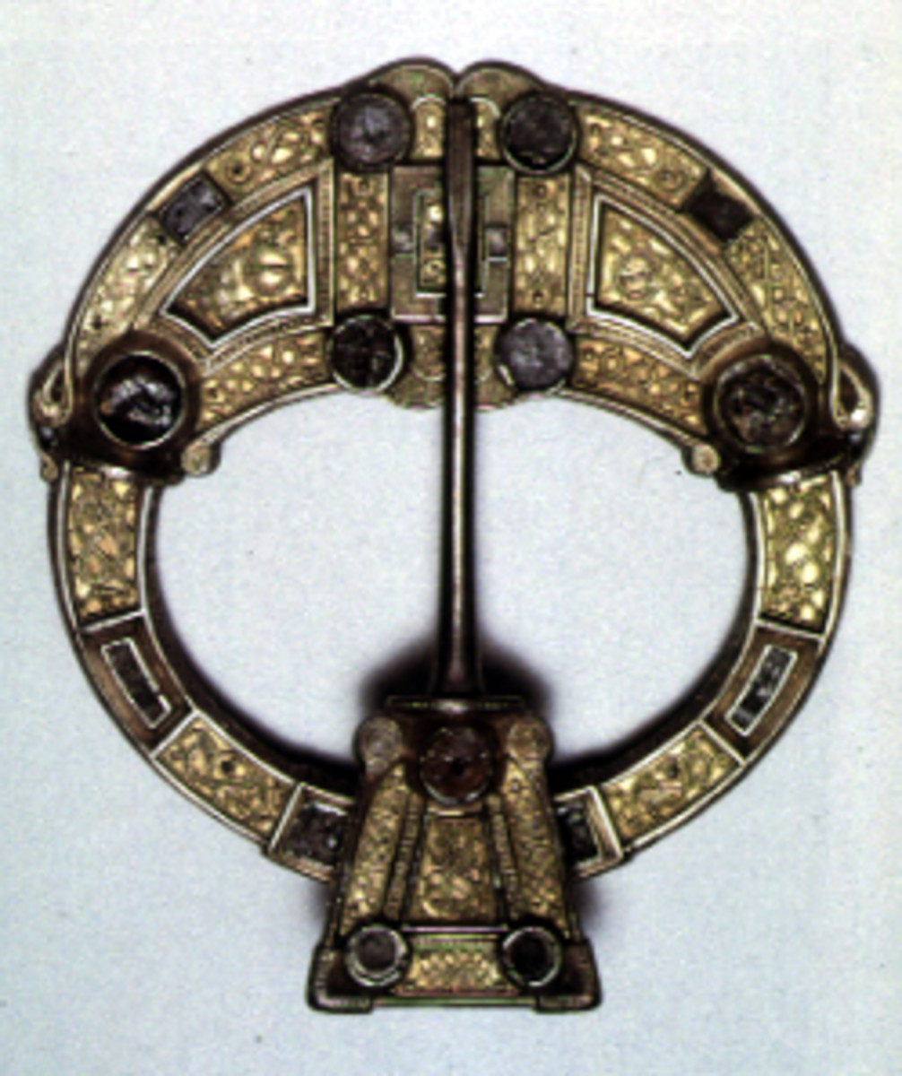 Example of an Early Medieval brooch from Ireland, with Celtic knot-work designs.