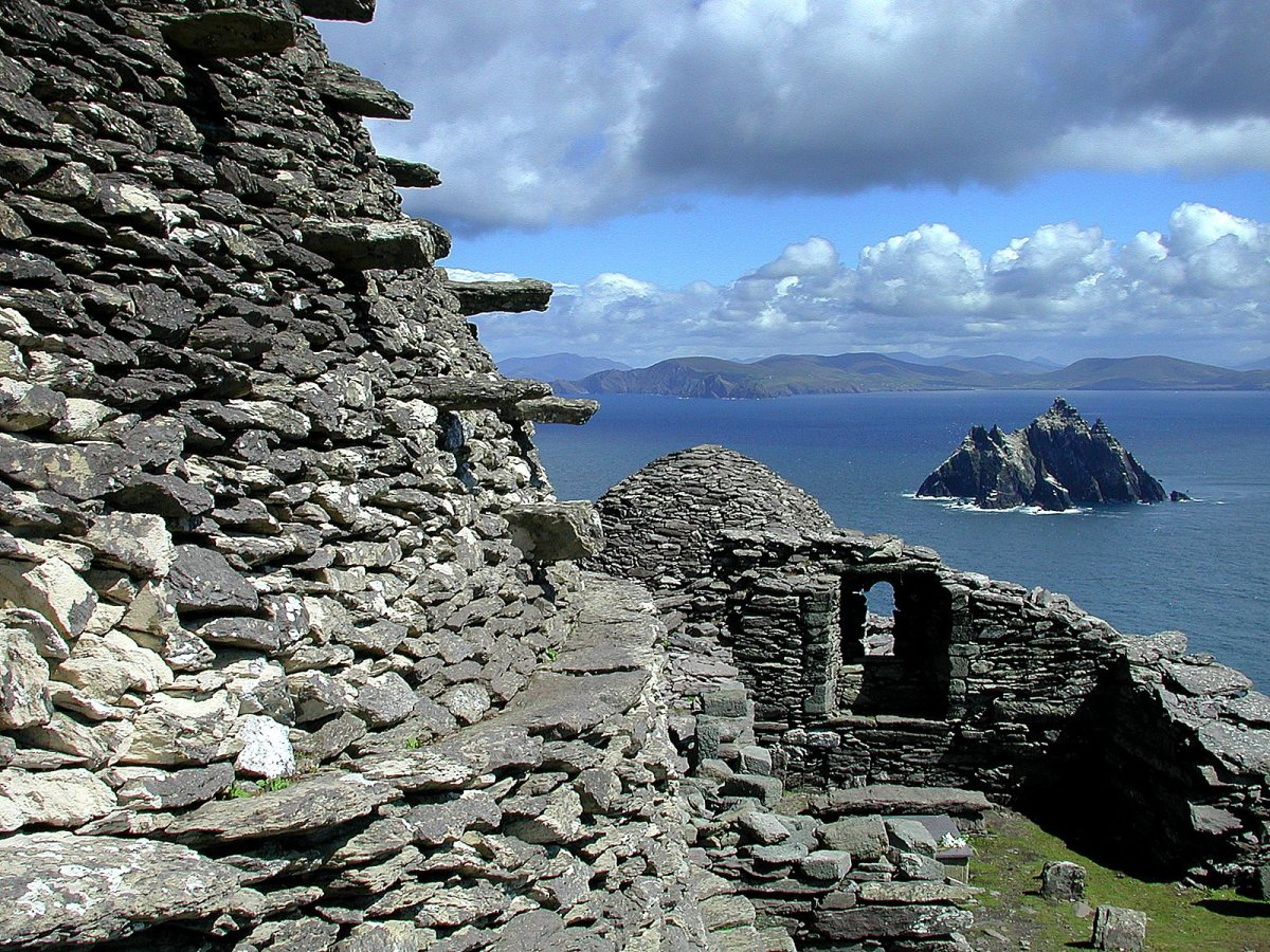 The monastery of Skellig Michael sat on a rocky island far out at sea.