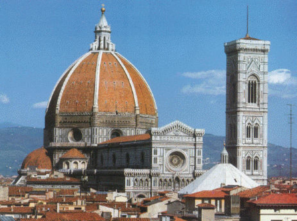 il Duomo and the famed dome built by Brunelleschi, and the Campanile to the right.