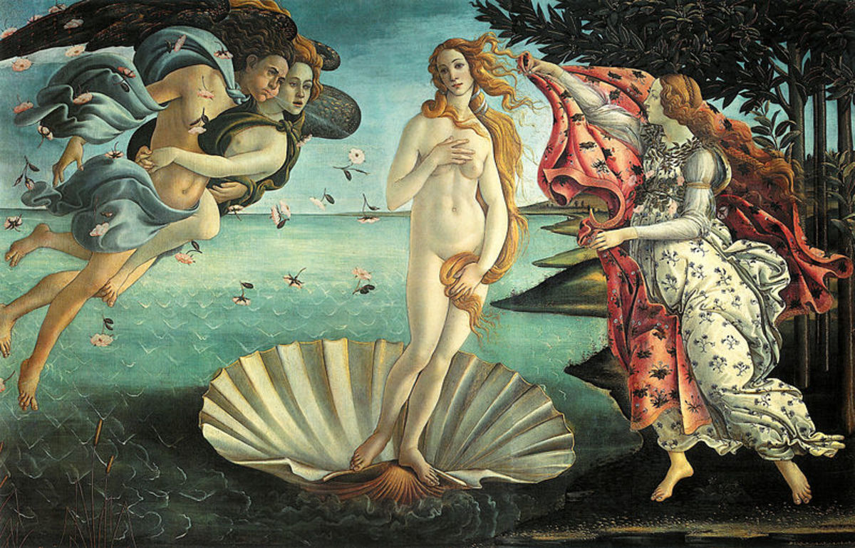 """The Birth of Venus"" painted by Boccelli, on view in the Uffizi Gallery, Florence, Italy."