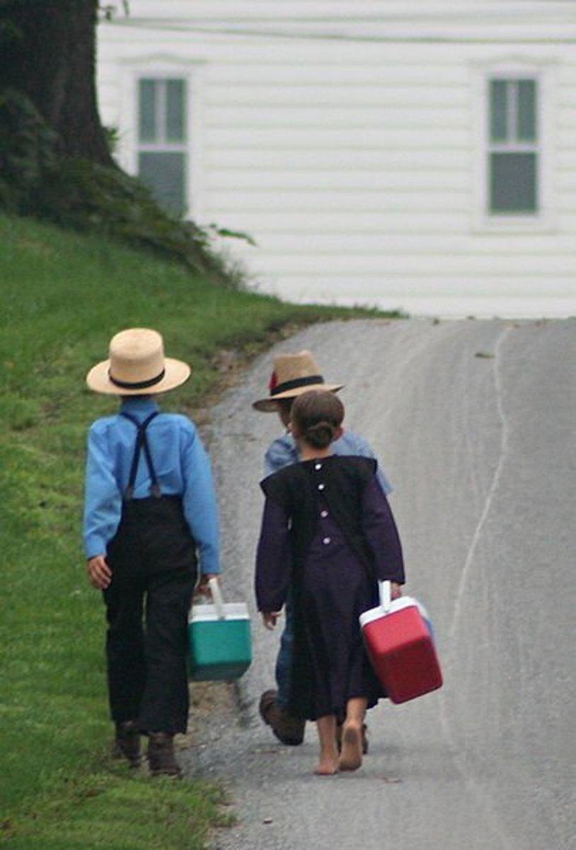 Amish children walking to school.