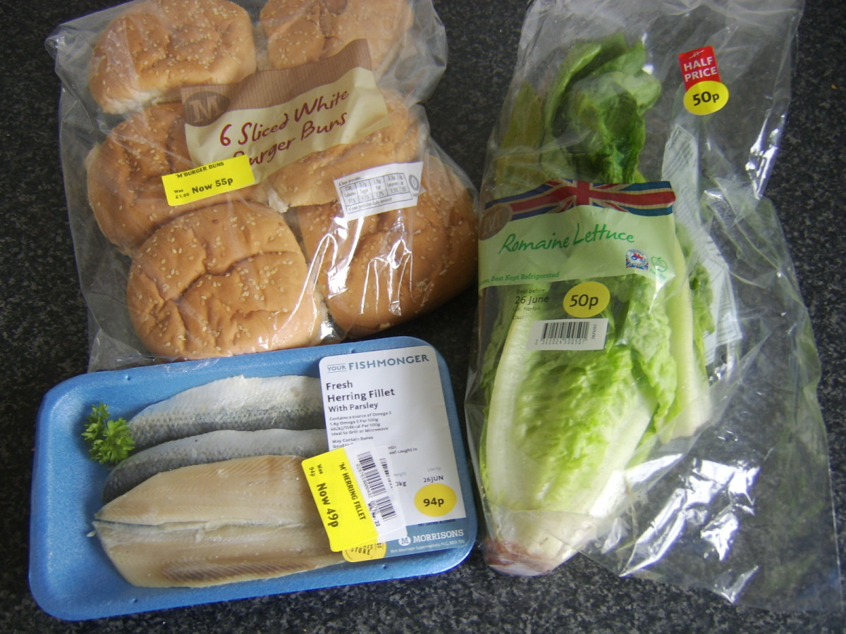 Burger buns, herring fillets and a romaine lettuce may at first seem like a curious combination but all were purchased as bargain buys due to them nearing their sell by dates