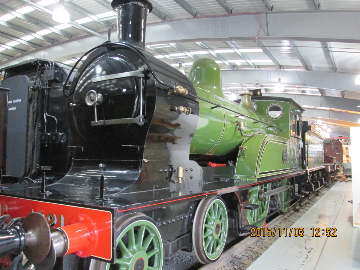 North Eastern Railway Class M No.1621 basks in the light of the large windows and overhead lighting