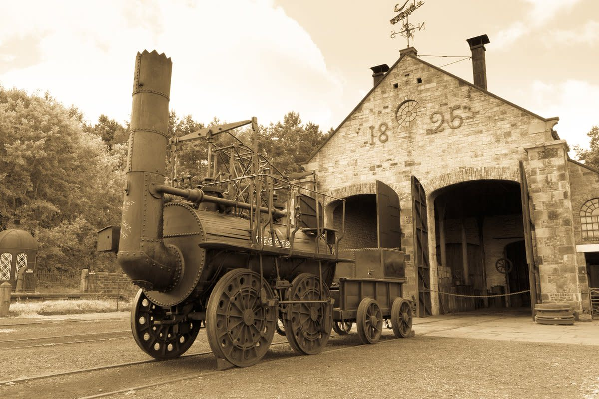 'Locomotion Number One', built at Robert Stephenson's Forth Street Works, Newcastle-upon-Tyne for his father George's inaugural run on September 25th, 1825 between Shildon and Stockton-upon-Tees Quayside. Seen outside the loco shed at Shildon