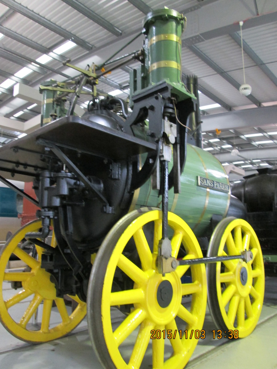 I asked one of the staff to remove the identity ticket from the nearest wheel of this replica if Timothy Hackworth's locomotive 'Sans Pareil' (see original above, near top of page). The locomotive was Hackworth's entry to the Rainhill Trials