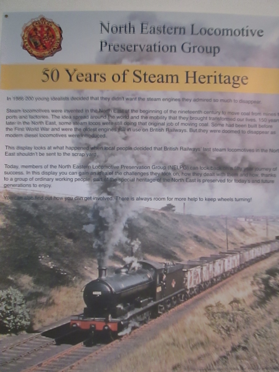 The North Eastern Locomotive Preservation Group is based in the old S&DR carriage works, close to the S&DR North Road Station, 'Head of Steam' - at present a display in the signal cabin in the station traces the group's history