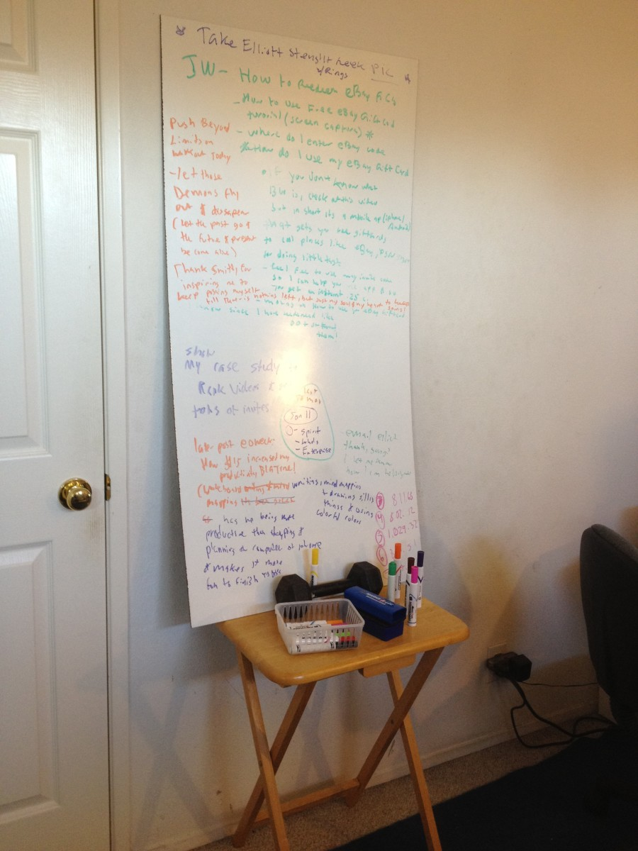 The Ghetto Version: Put Your Board on top of a Table & Stick a Dumbbell so It Doesn't Slide Off! (Genius, I know! ;)