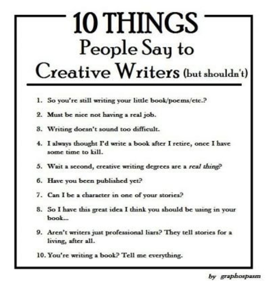 10 things you should not say to a writer