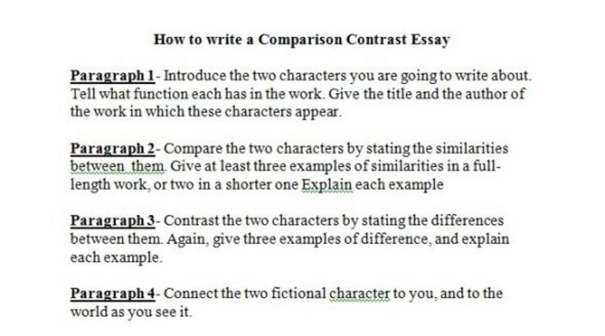 compare and contrast essay between two characters