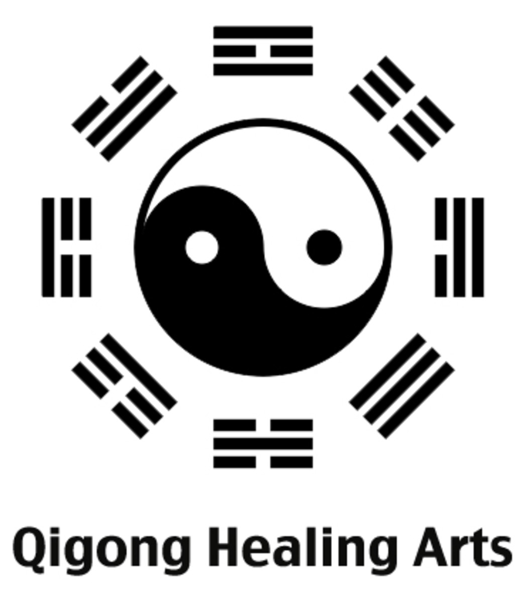 The qigong healing arts are based in Taoist alchemical principles as represented by both the Tai Chi symbol (inner part of the diagram) and the ba qua (ideograms on the outer part of the diagram.