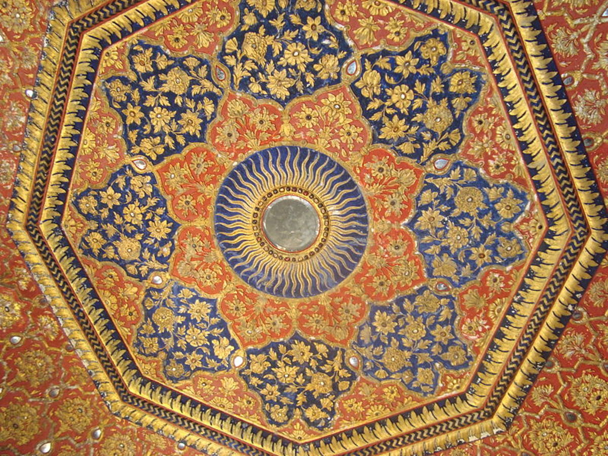 the ceiling of the Golden temple in gold and precious stones