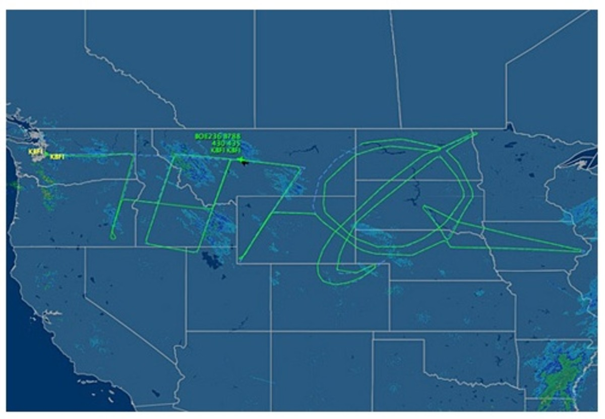 "Test flight path.  Notice the ""787"" and Boeing logo."
