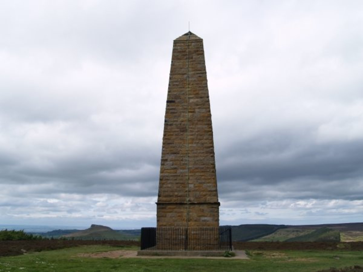 The obelisk Captain Cook's Monument on Easby Moor overlooking Ayton and Aireyholme Farm to the west where James Cook grew up and went to school (now a museum across the road from the River Leven