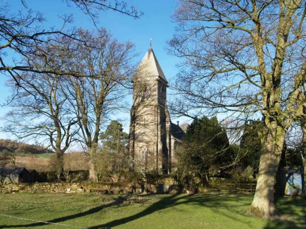 St Cuthbert's Church at Kildale nestles amongst trees in its small churchyard, almost surrounded by sheep pasture