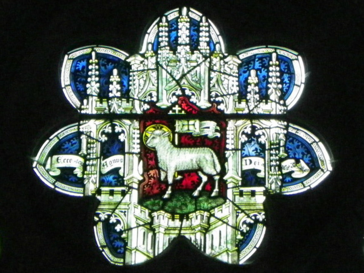'Agnus Dei', Lamb of God, stained glass window inside Sy Cuthbert's Church - lamb is a local market staple