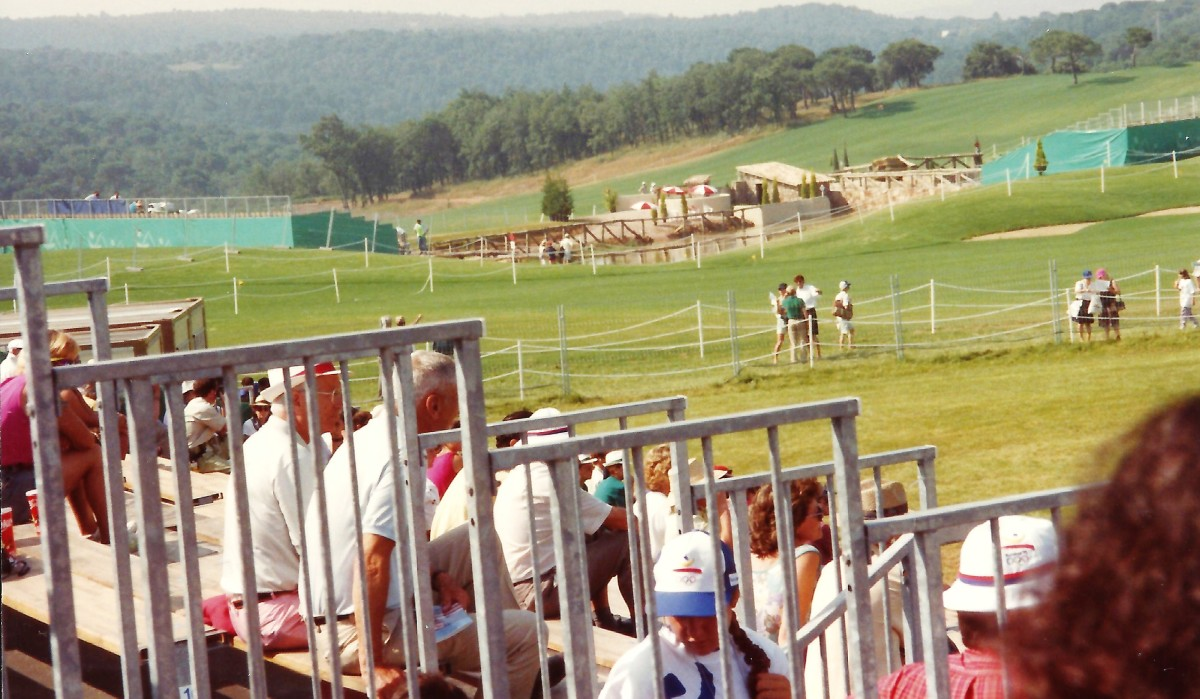 View looking out from the bleachers toward the surrounding countryside.