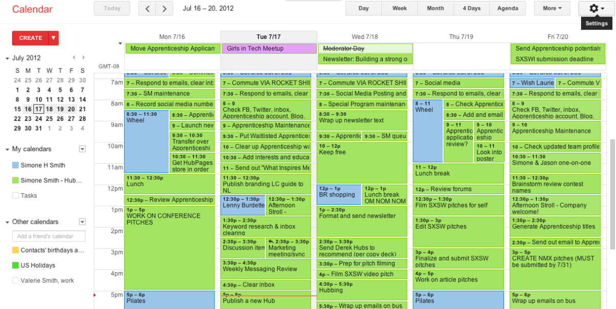 My calendar may look full, but that's because I turn all of my to-do items into specific events, and continue to schedule additional events for a task until it is finished.