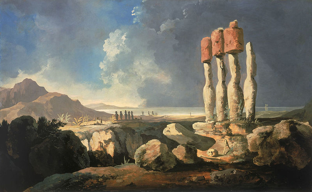 The earliest known painting of Easter Island by William Hodges painted in 1775.