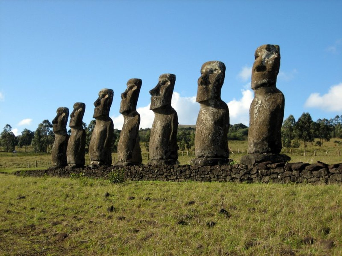 The famous giant heads or moai of Easter Island.