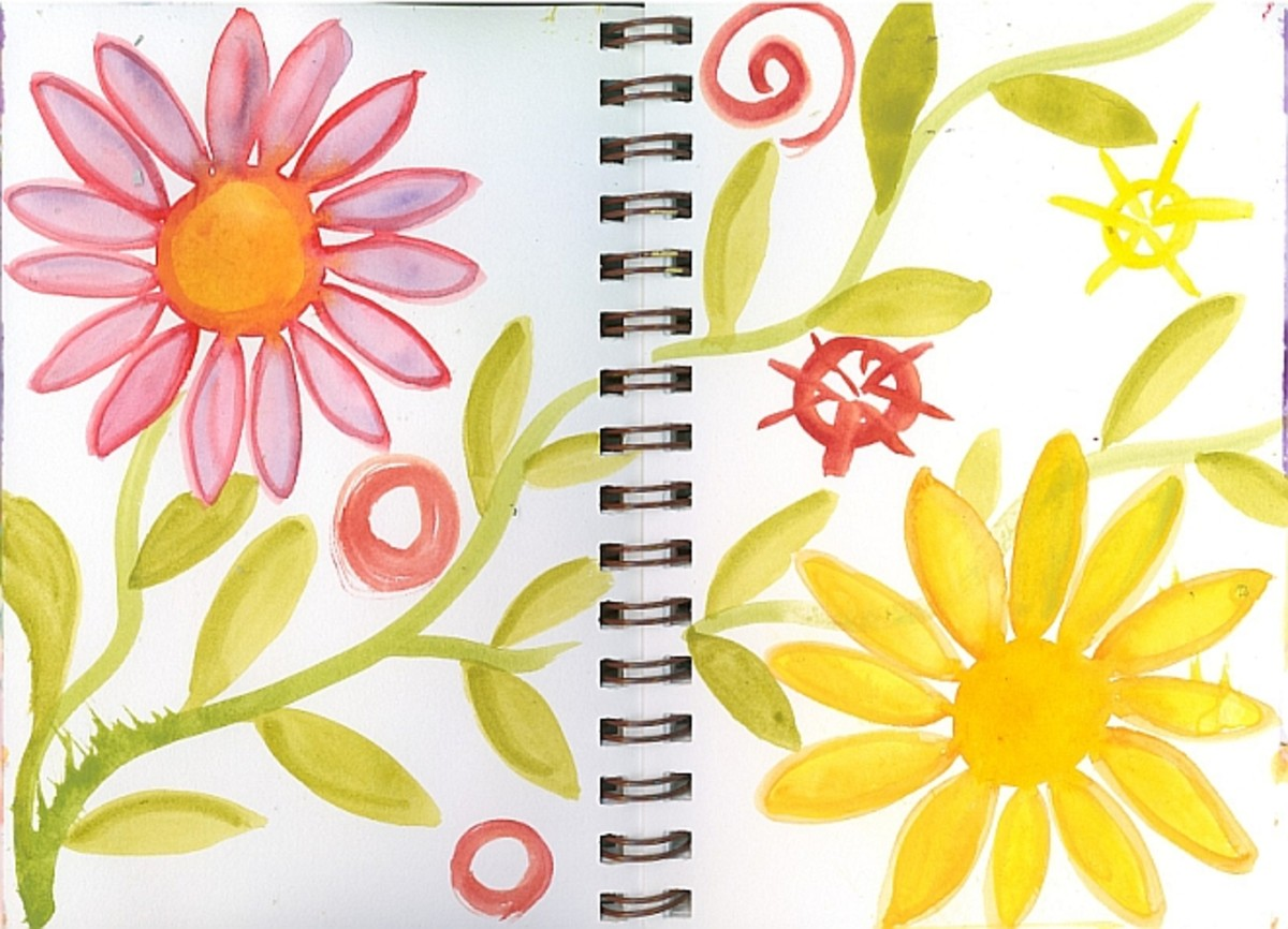 Simple painted flower doodle