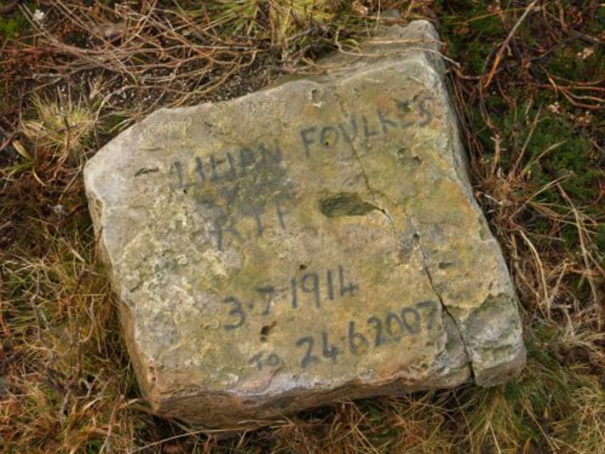 Private memorial to Lilian Foulkes near 'Hob Cross'