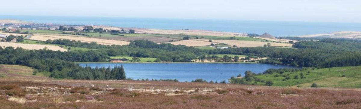 Lockwood Beck Reservoir with the North Sea beyond
