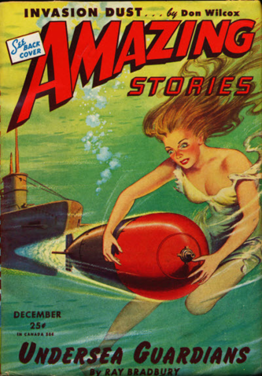 In 1944, Bradbury's Undersea Guardians graced the cover of Amazing Stories