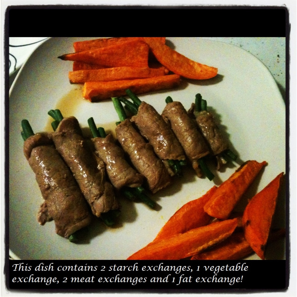Roasted Sweet Potatoes and Green Beans Wrapped in Lean Beef