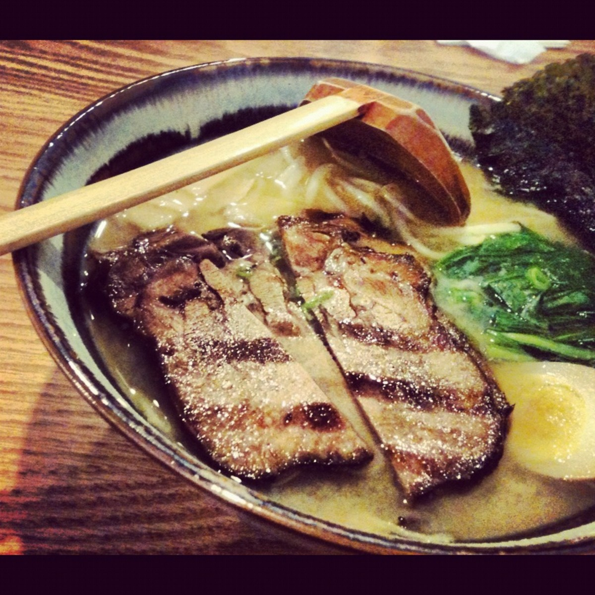 Protein-Rich Lunch with Meat, Egg and Miso Broth