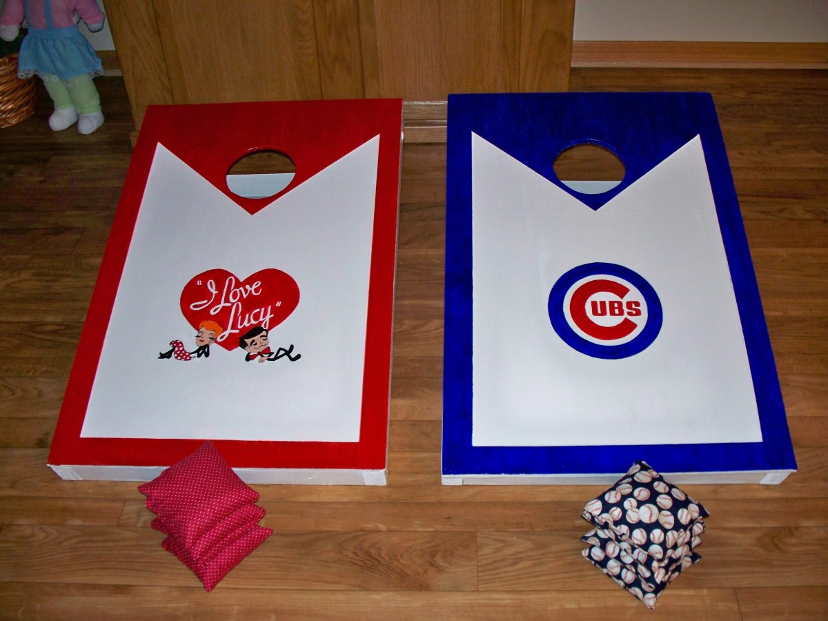 I Love Lucy Bean Bag Board & a Chicago Cub Bean Bag board that I built for my brother and his wife.