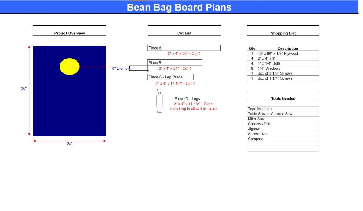 bean bag toss plans free