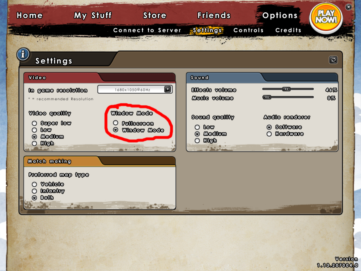 Typical example of how you could set a game into window mode through its options menu.