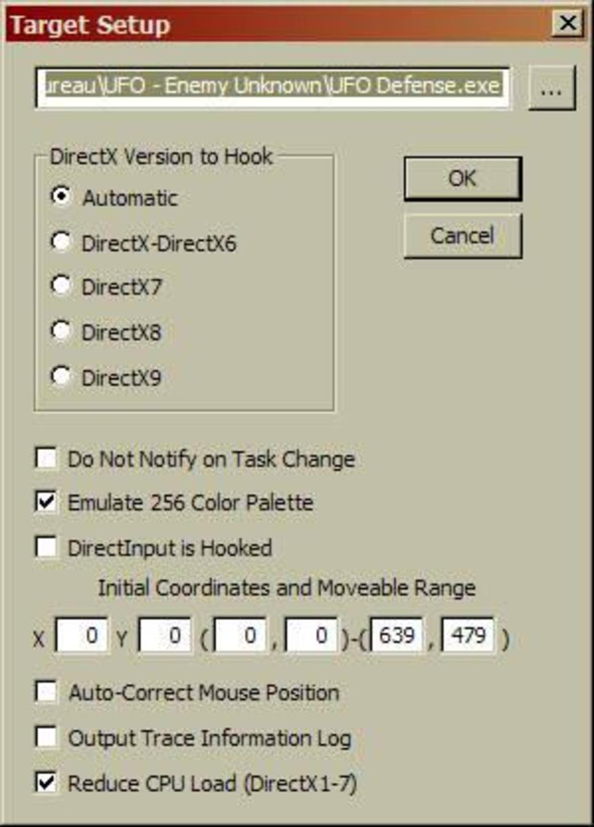 The settings window of DXWND application.