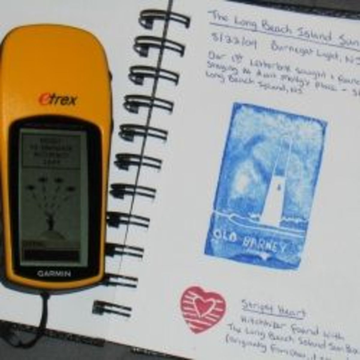 GPS device for geocaching and a letterboxing logbook