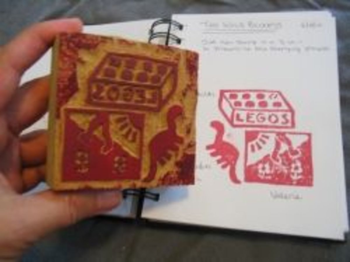 Letterboxing stamp and its impression in a logbook