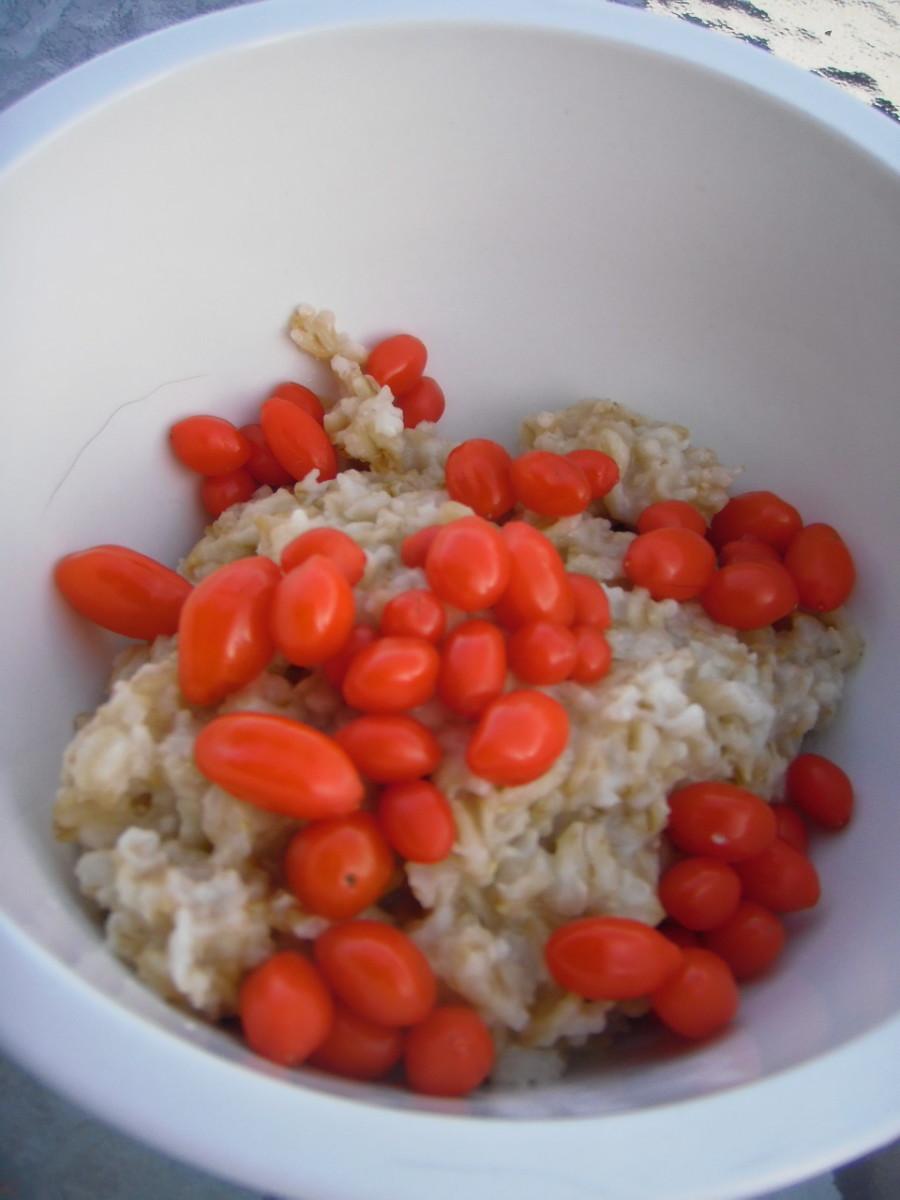 Goji Berries in porridge.