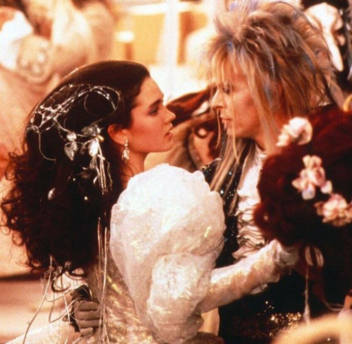 Jennifer Connelly as Sarah and David Bowie as Jareth in The Labyrith