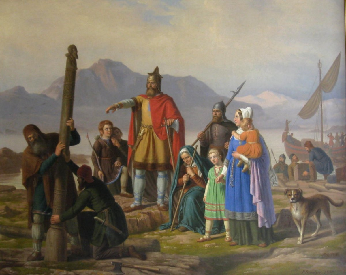 Ingolf Arnarson has come ashore in this painting by Raadsig - note the man on the left with a high seat pillar. They were thrown overboard near shore and where they grounded was where the clan settled