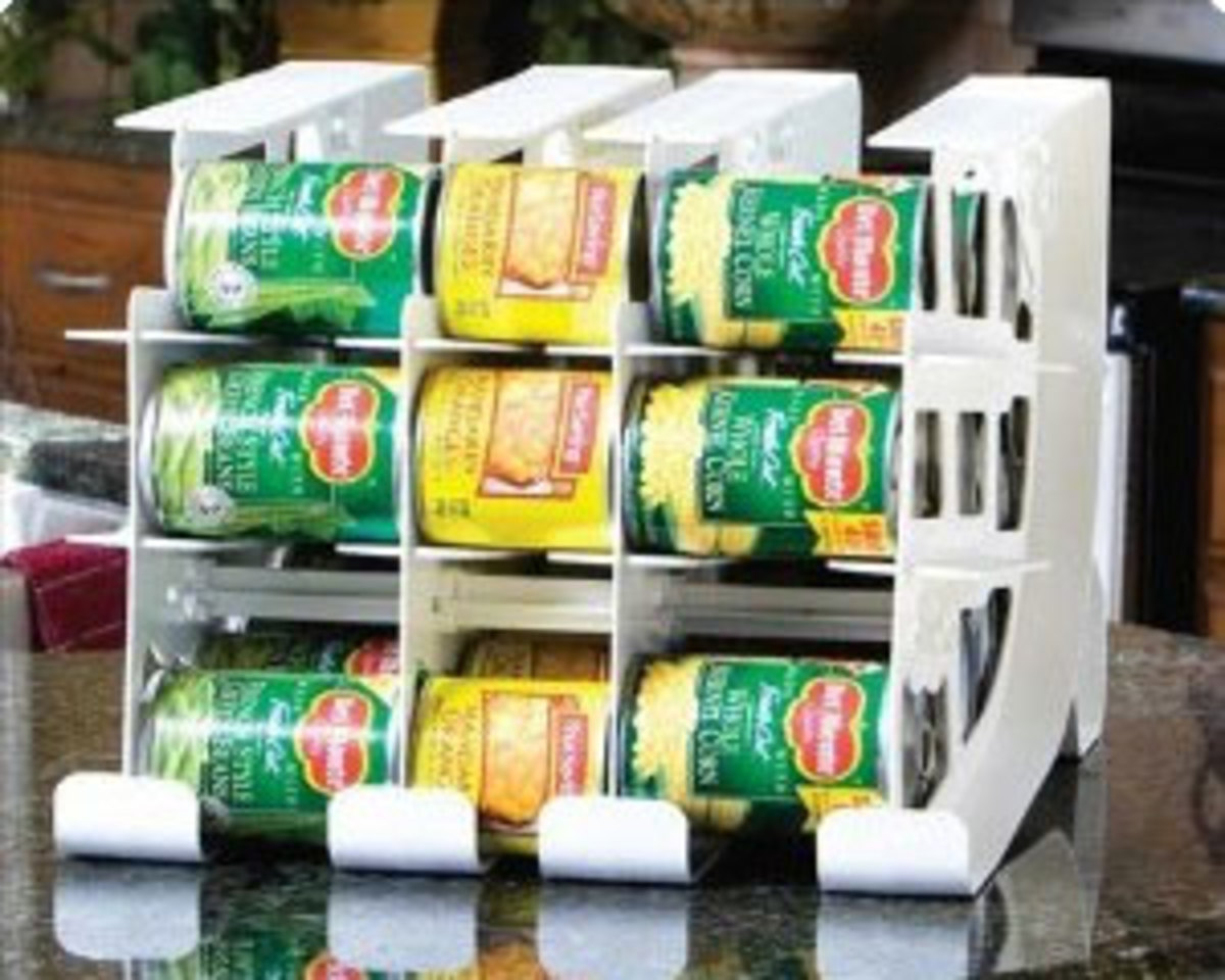 Canned food storage rack for the FIFO Method
