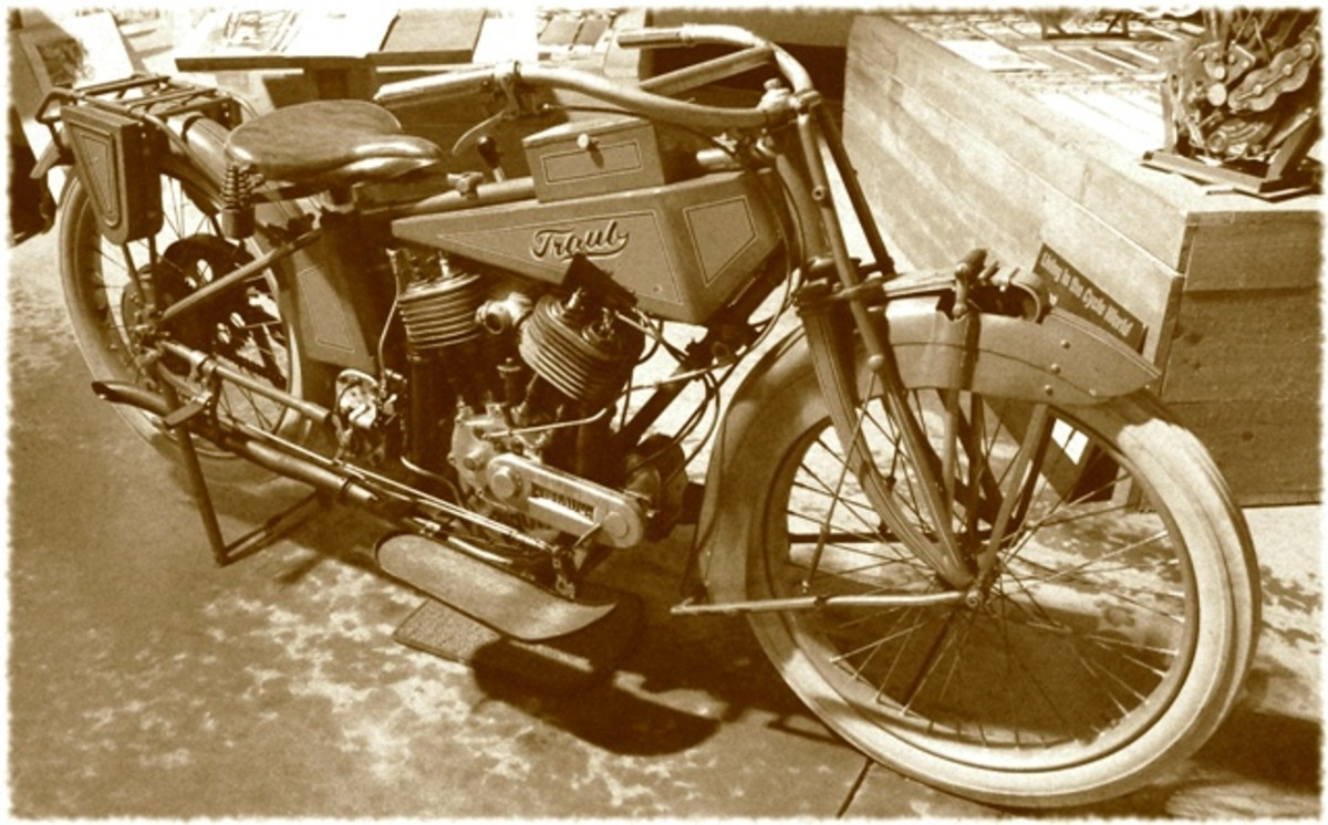 "The Traub Motorcycle - ahead of its time.  I made this photo ""vintage"" to add an element of timelessness to it."