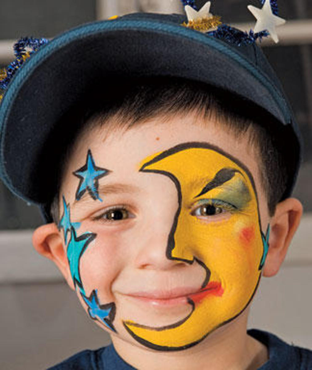 Star face painting for children designs tips and tutorials star and moon face painting on child sciox Images