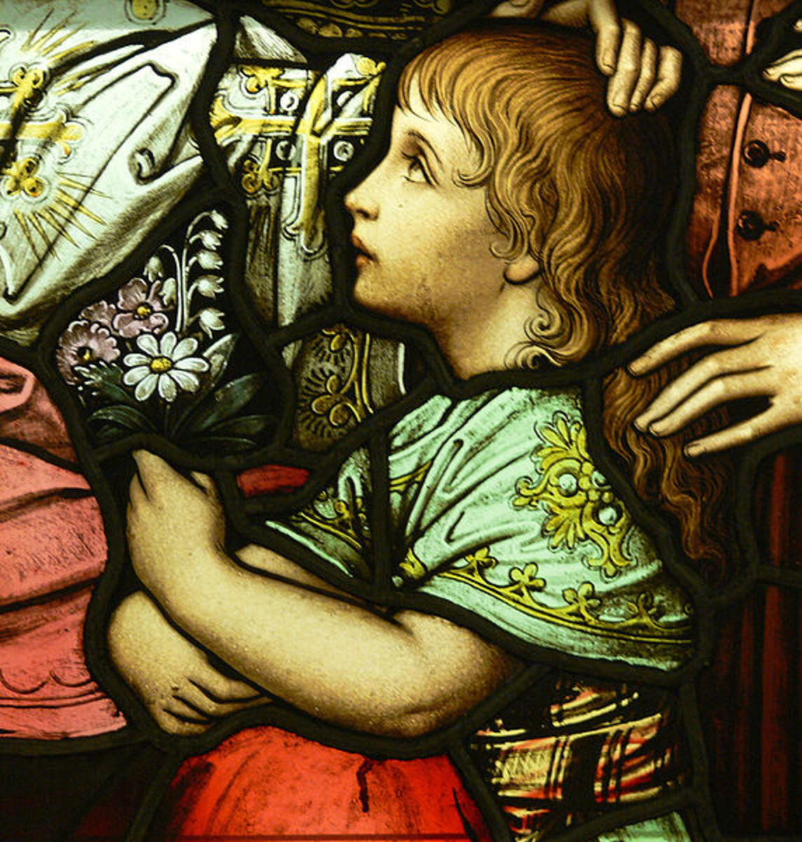 File: LA Cathedral Mausoleum Jesus and the Children detail1.jpg Author: Window Workshop of Franz Borgias Mayer (1848-1926);  Photo: Andreas Praefcke